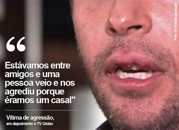 Rapaz foi agredido em bar do Itaim (Foto: TV Globo/Reprodução)