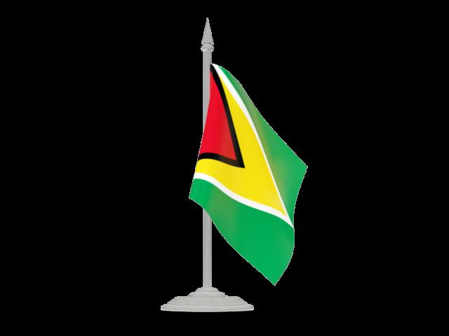 Flag With Flagpole Illustration Of Flag Of Guyana