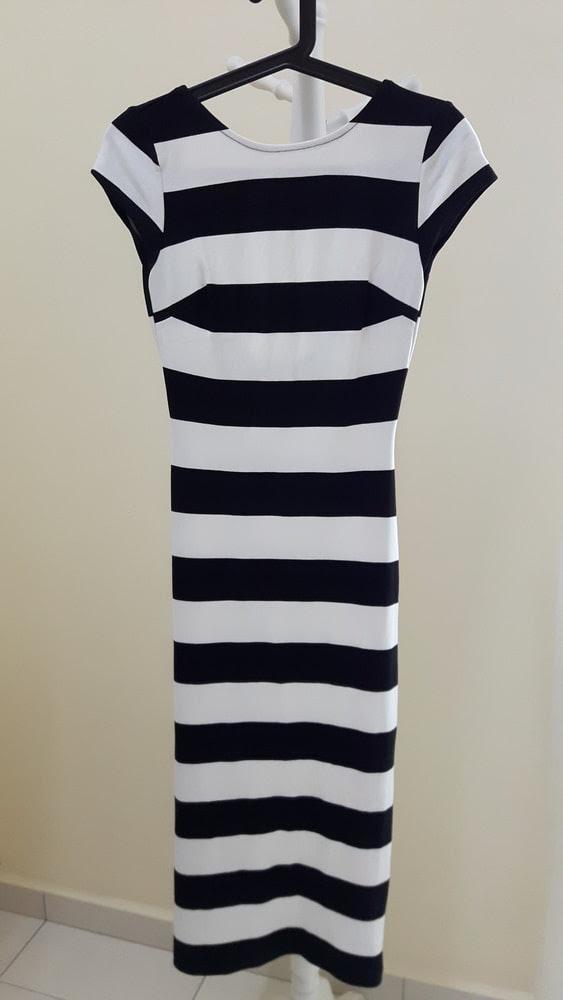 Jumia black stripe with zara white dress bodycon tight