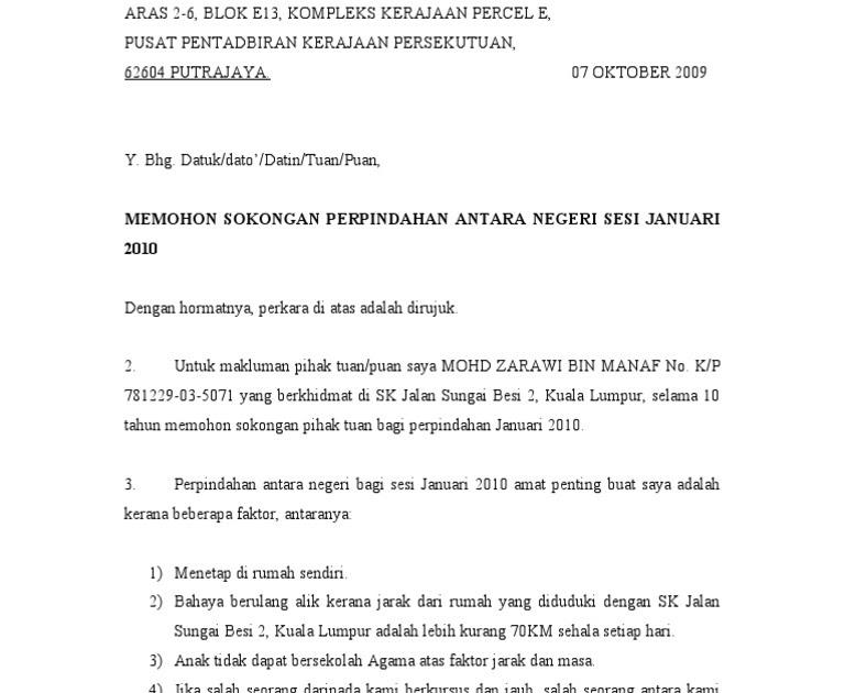 Surat Rasmi Sokongan Kerja Selangor H