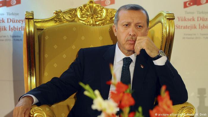 Erdogan on a golden throne