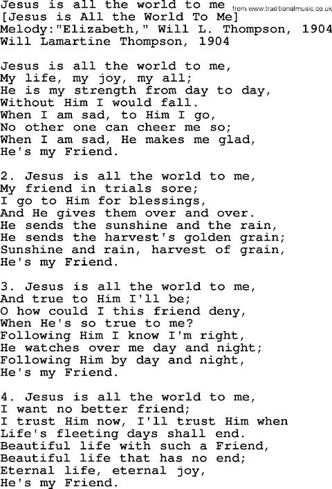 Jesus Is All The World To Me Lyrics