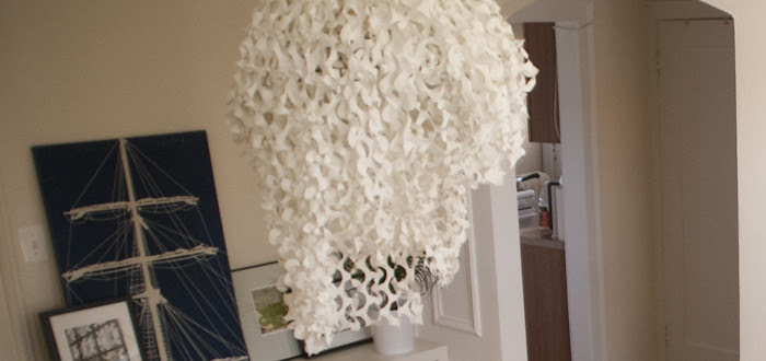 snow camo, chandelier hiding, how to hide an ugly apartment light fixture