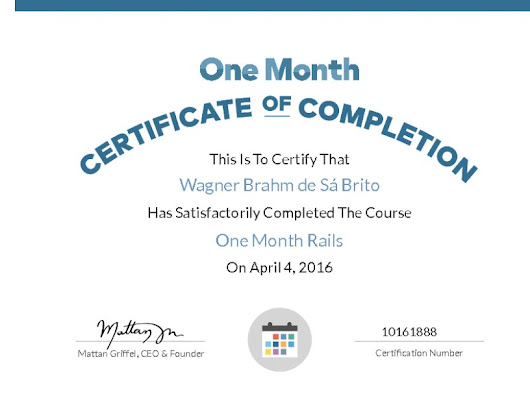 Certificate for One Month Rails