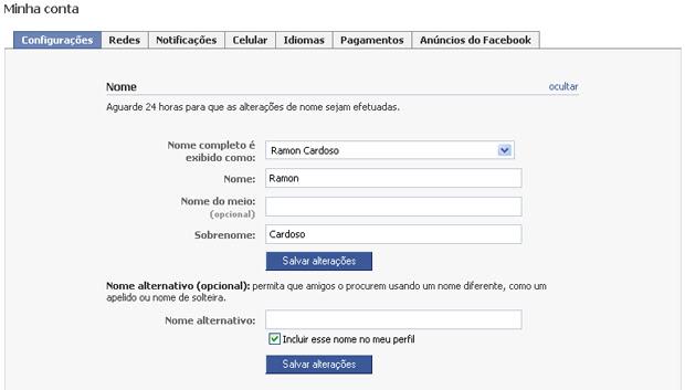 Alterar nome do perfil do Facebook (Foto: Reprodução/TechTudo)