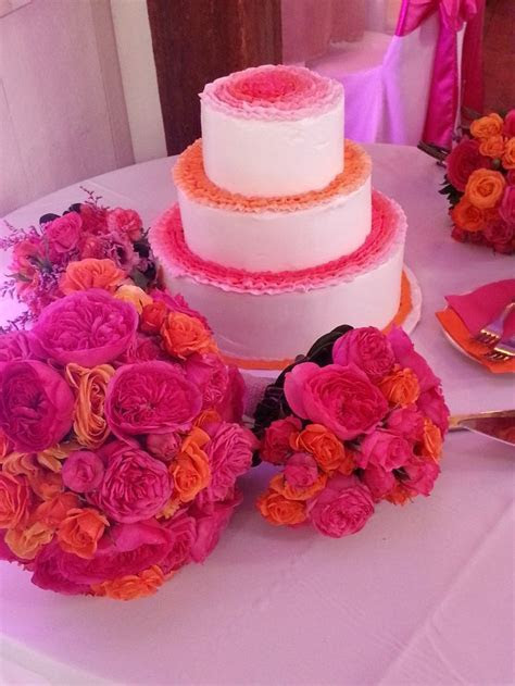 orange and hot pink wedding cake   Wedding Cakes at Barn