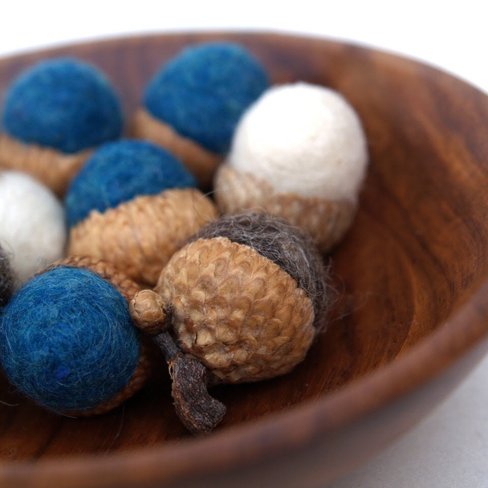 Needle Felted Acorns, Handmade wool Felt 12 Home Decor Midnight Blue Waldorf Woodland Natural Nature Autumn Fall Thanksgiving Country