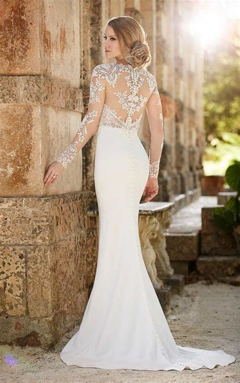 Lace Illusion Sheath Wedding Dress   Martina Liana