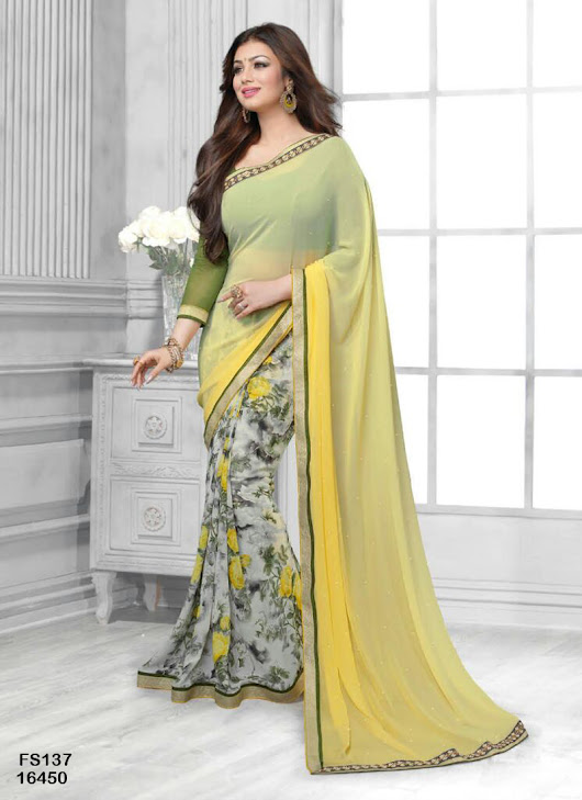 Buy fabfirki green and yellow shaided printed georgette saree with blouse at 9% off Online India at Kraftly - FAGRAN72294YZX302088
