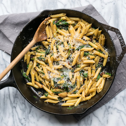Pasta with Guanciale and Greens - Recipe by Cooks and Kid
