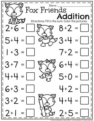 Kindergarten Addition Worksheets Math Units for Kindergarten
