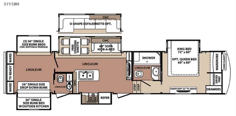 Floor Plan Idea New Forest River Rv Blue Ridge 3715bh Fifth Wheel For Sale Review Rate Compare Floorplans