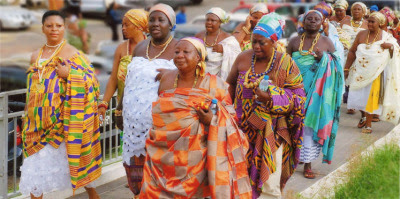 Queen mothers in their rich and regal Kente cloth, Ghana