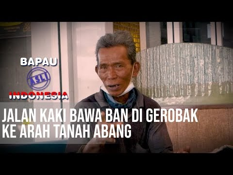 BAPAU ASLI INDONESIA - Pasti Berat! Berjalan Kaki Sambil Membawa Gerobak Yang Berisi Ban