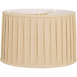 Royal Designs Shallow Drum English Box Pleat Basic Lamp Shade, Linen Beige, 15 x 16 x 10