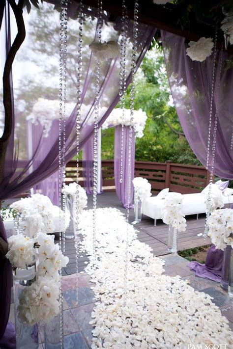 Gorgeous lavender and white outdoor wedding aisle. Karen