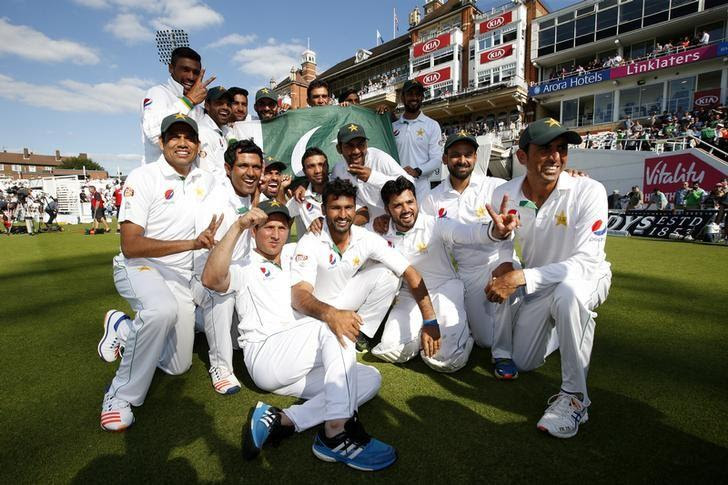 Britain Cricket - England v Pakistan - Fourth Test - Kia Oval - 14/8/16Pakistan celebrate their winAction Images via Reuters / Paul ChildsLivepic