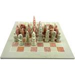 "Hand Carved Soapstone Animal Chess Set - 15"" Board - Smolart"