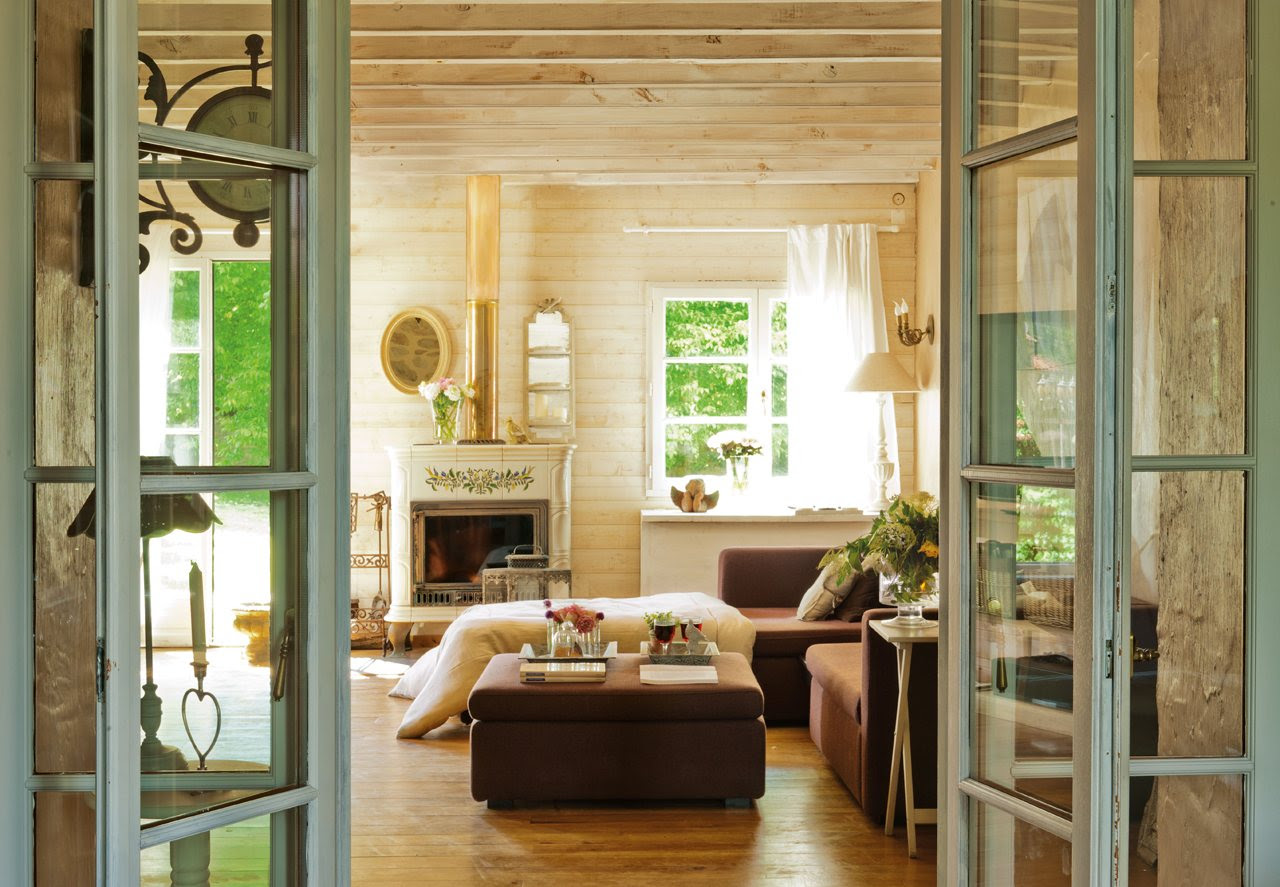 Una sala de estar rústica