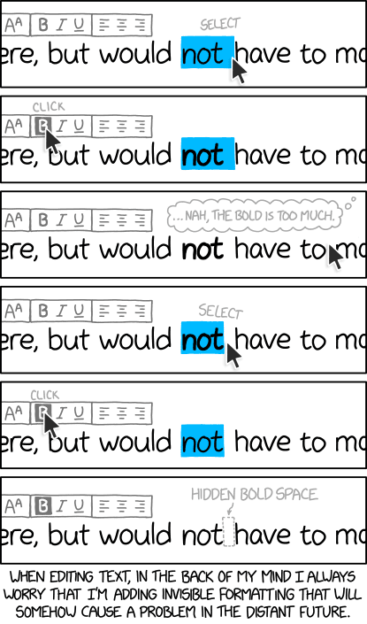 2109: Invisible Formatting - explain xkcd