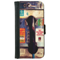 Funny Retro US Public Pay Phone Close Up Picture iPhone 6 Wallet Case