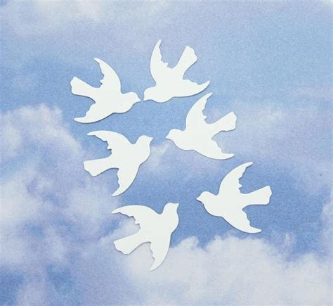 Dove Confetti Bird Die Cut Paper Punch Embellishments