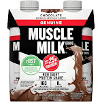 Muscle Milk Genuine Protein Shake, Non Dairy, Chocolate - 4 pack, 11 fl oz cartons