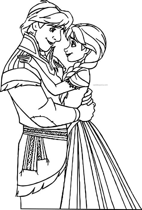 anna ve kristoff sevgili boyama sayfasi