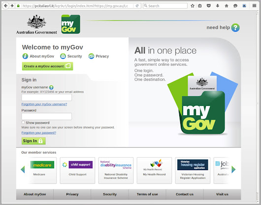 Near-perfect myGov clone aims to harvest credit card information