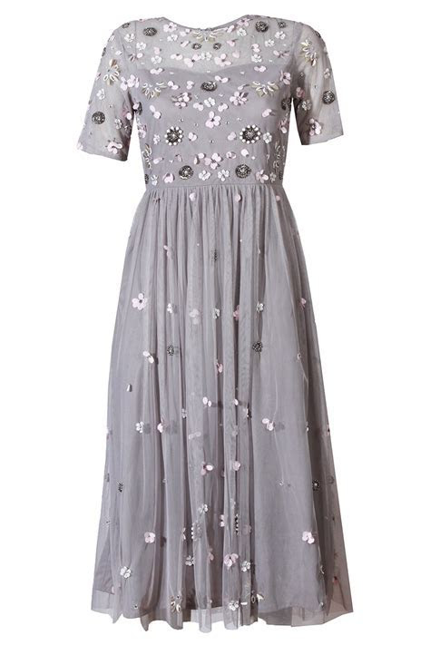 LACE & BEADS BABY GREY DRESS   PARTY DRESSES