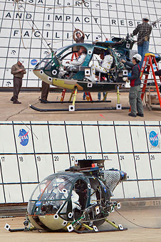 The MD-500 helicopter before and after the drop test