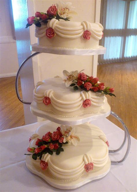 3 Tier Petal Wedding Cake With Sugar Orchid And Roses