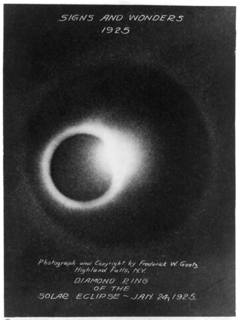 Diamond ring of the solar eclipse - Jan. 24, 1925. Photo by Frederick W. Goetz, copyrighted 1925 July 13. //hdl.loc.gov/loc.pnp/cph.3a50267