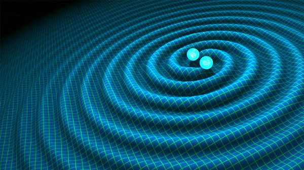 An illustration depicting gravitational waves being emitted by two binary neutron stars.