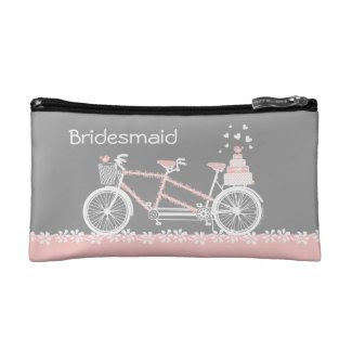 Tandem Bicycle Wedding Personalized Cosmetic Bag