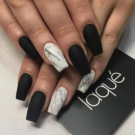 Matte Coffin Acrylic Nails Black Nail And Manicure Trends,Simple Arya Work Blouse Designs Images