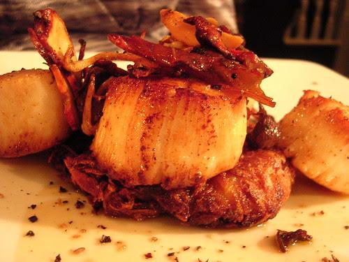 Seared Day-Boat Scallops, Potato Rosti, Wild Mushroom Ragout