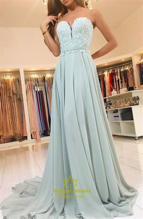 Elegant A Line Strapless Sweetheart Lace Top Chiffon