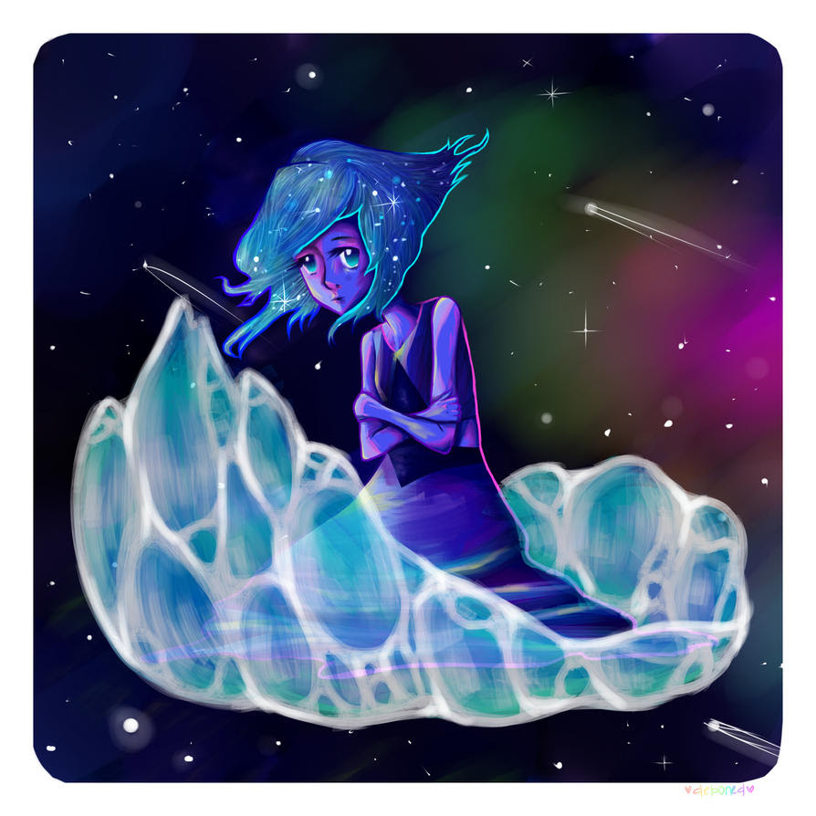 here is my finished lapis lazuli painting. took a while. i love lapis lazuli shes one of my favorite gems that episode with her and jasper. omg. anyway here it is.