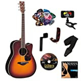 Yamaha FGX730SC Brown Sunburst Acoustic-Electric Guitar Bundle w/Legacy Kit (Tuner,DVD, Capo and More)