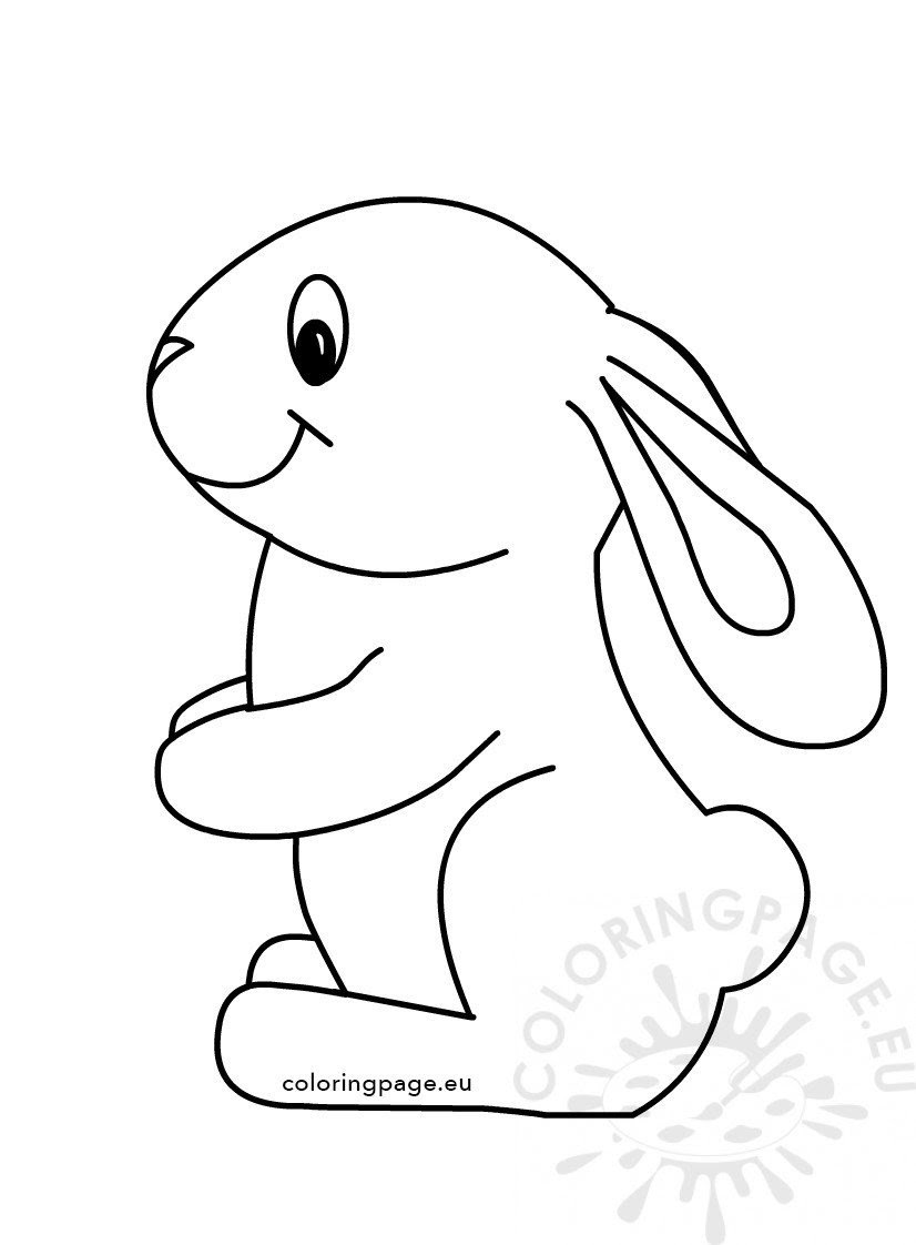 Easter Cute Bunny Coloring Kids - Coloring Page
