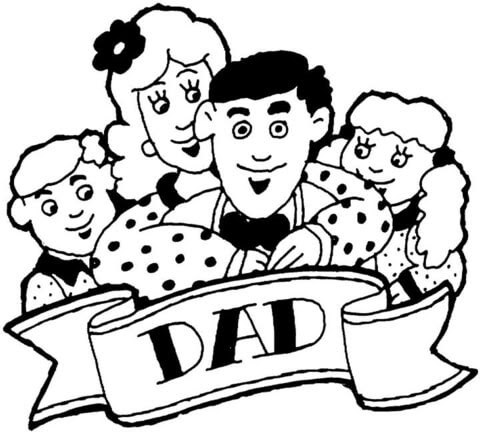 Whole family celebrates Fathers Day coloring page