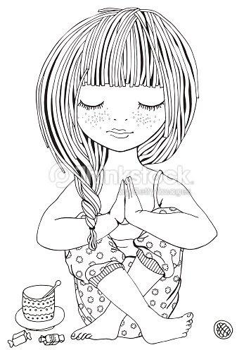 ヨガのポーズでかわいい女の子大人のぬりえ ベクトルアート Thinkstock