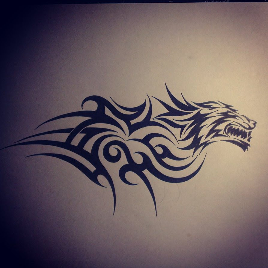 Tribal And Wolf Head Tattoo Design
