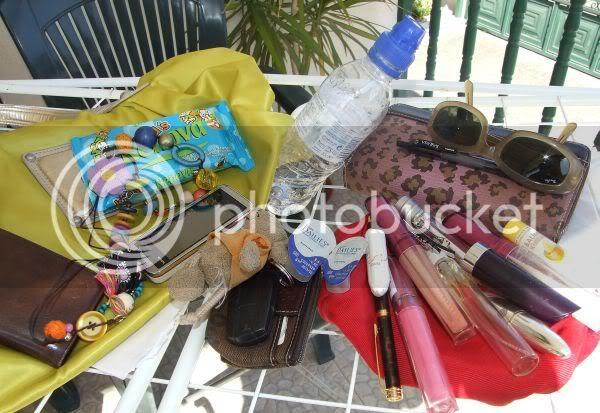 bag,cellphone,sunglasses,gloss,carkeys,waterbottle