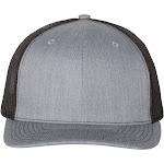 Richardson Adult 112 Twill Mesh Snapback Trucker Caps Grey/Black, Adjustable
