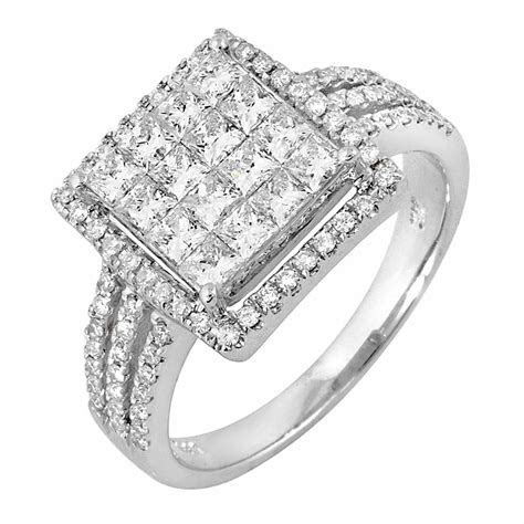 1.46ct TCW 14K White Gold Cluster Engagement Ring  4003544