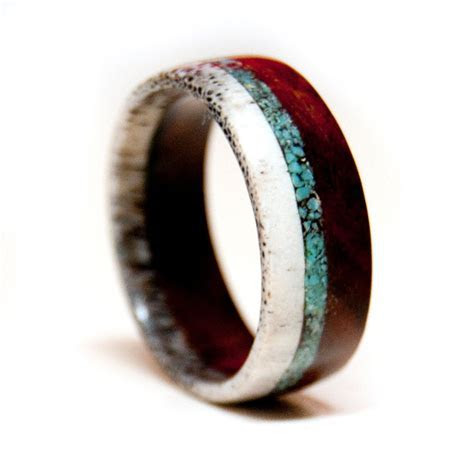 Wood and Antler Ring Band with Turquoise Inlay   Unique