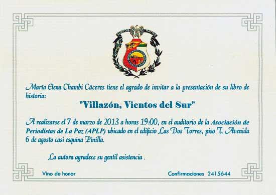 Presentación del libro Villazón, Vientos del Sur en La Paz