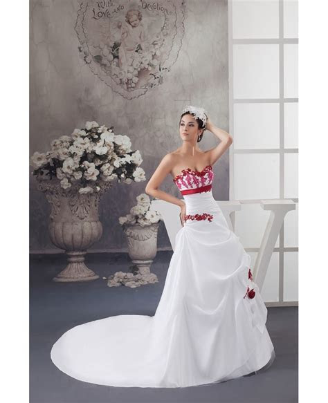 White and Red Flowers Taffeta Lace Color Wedding Dress
